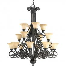 Progress P4147-84 - Sixteen Light Espresso Weathered Sandstone Glass Up Chandelier