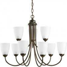 Progress P4627-20EBWB - Nine Light Antique Bronze Etched Glass Up Chandelier