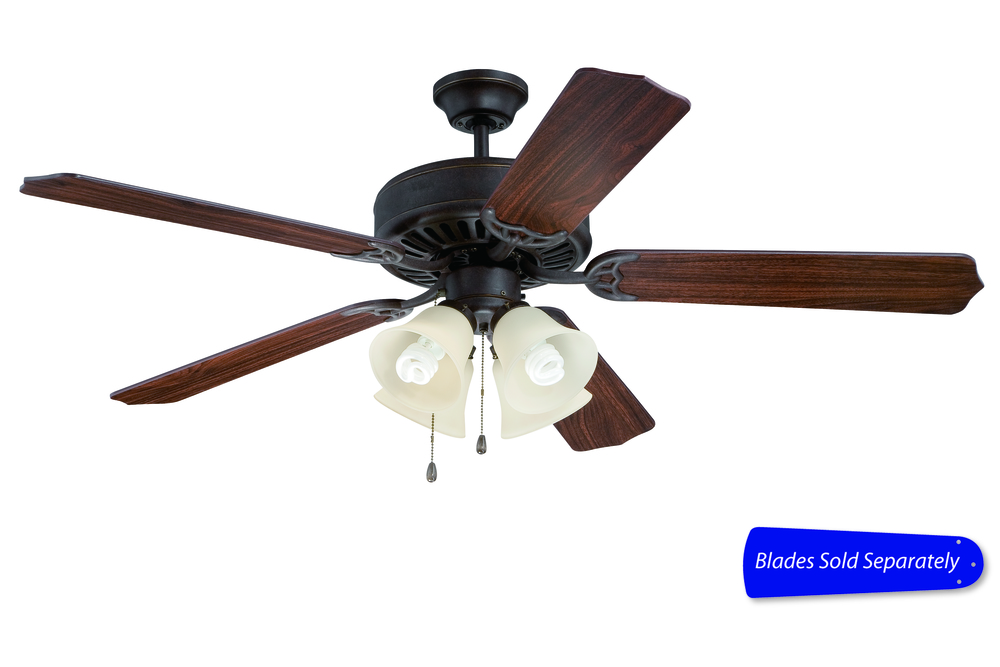 "Pro Builder 204 52"" Ceiling Fan with Light in Aged Bronze Textured (Blades Sold Separately)"