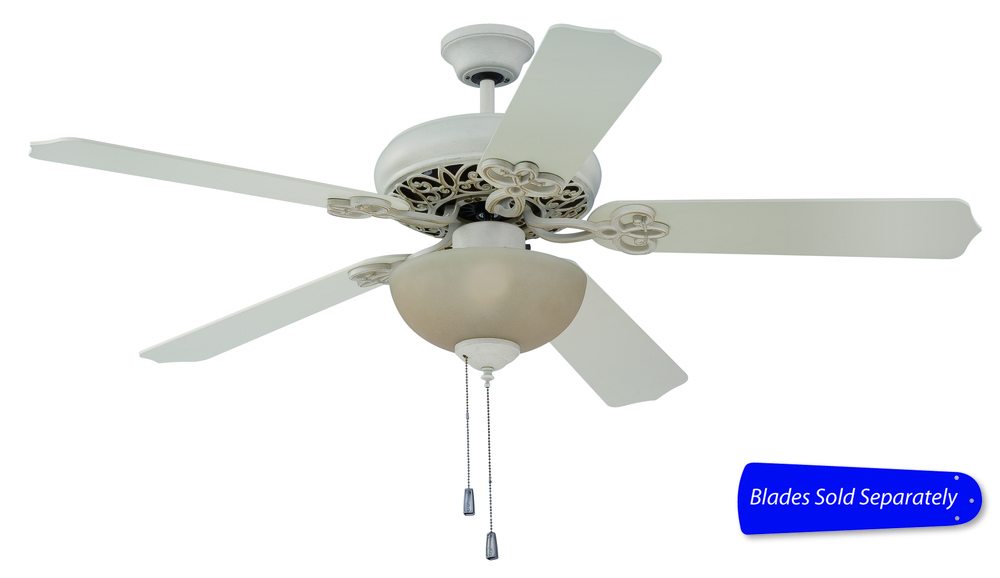 "Cecilia Unipack 52"" Ceiling Fan with Light in Antique White Distressed (Blades Sold Separately)"