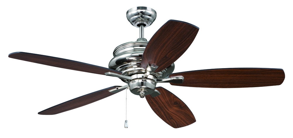"Yorktown 52"" Ceiling Fan with Blades in Polished Nickel"