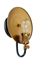 Craftmade 42361-FBPAB - Eclipse 1 Light Wall Sconce in Flat Black/Patina Aged Brass
