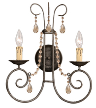 Crystorama 5202-DR-GT-MWP - Crystorama Soho 2 Light Golden Teak Crystal Rust Sconce