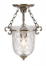 Crystorama 5760-AB - 1 Light Brass Glass Pendant II