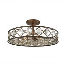 ELK Lighting 31093/8 - Armand 8 Light Semi Flush In Weathered Bronze Wi